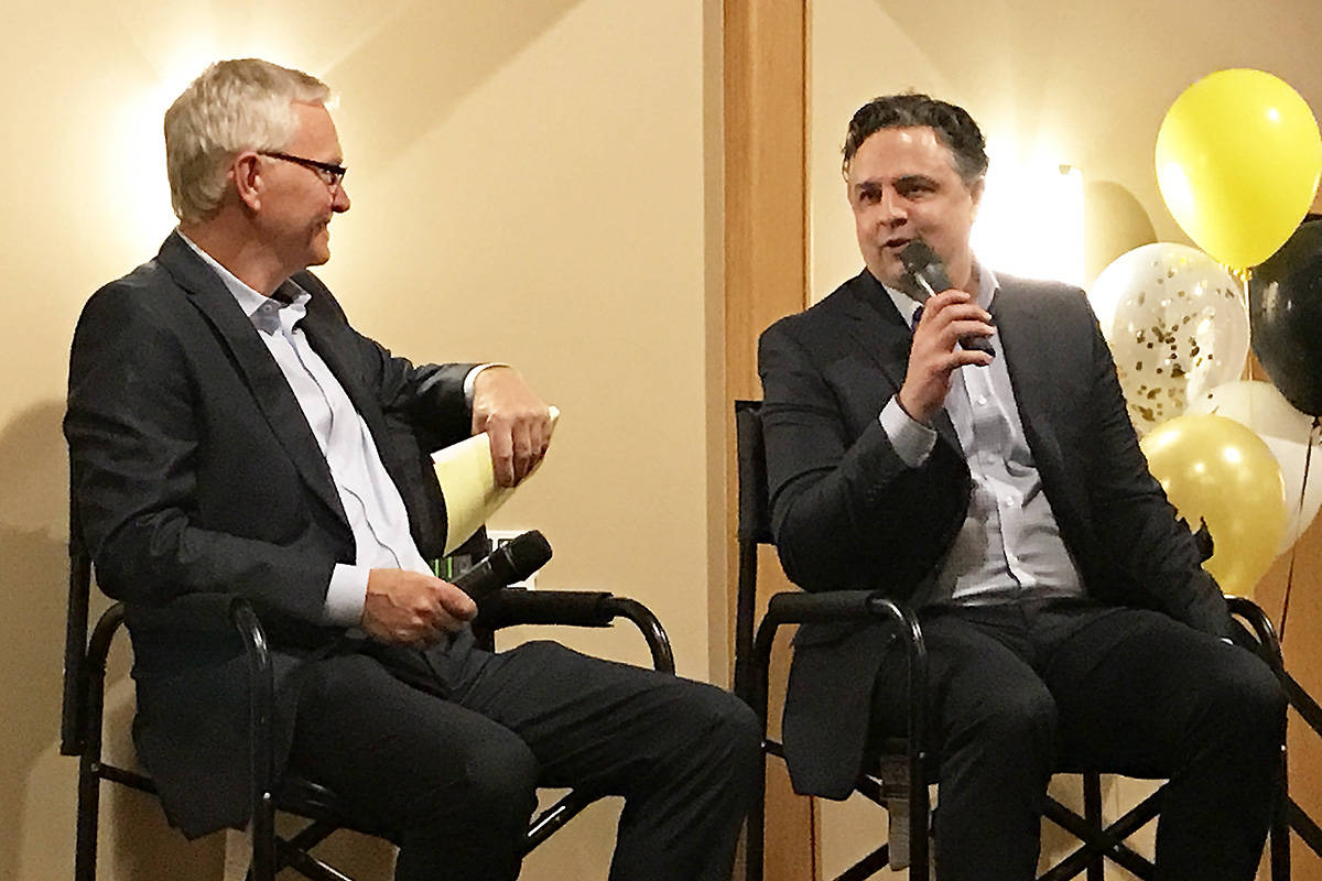 Hockey broadcaster Jim Hughson, left, a South Surrey resident, interviews Vancouver Canucks head coach Travis Green at the 2019 Nite of Champions gala. (Tom Zillich photo)