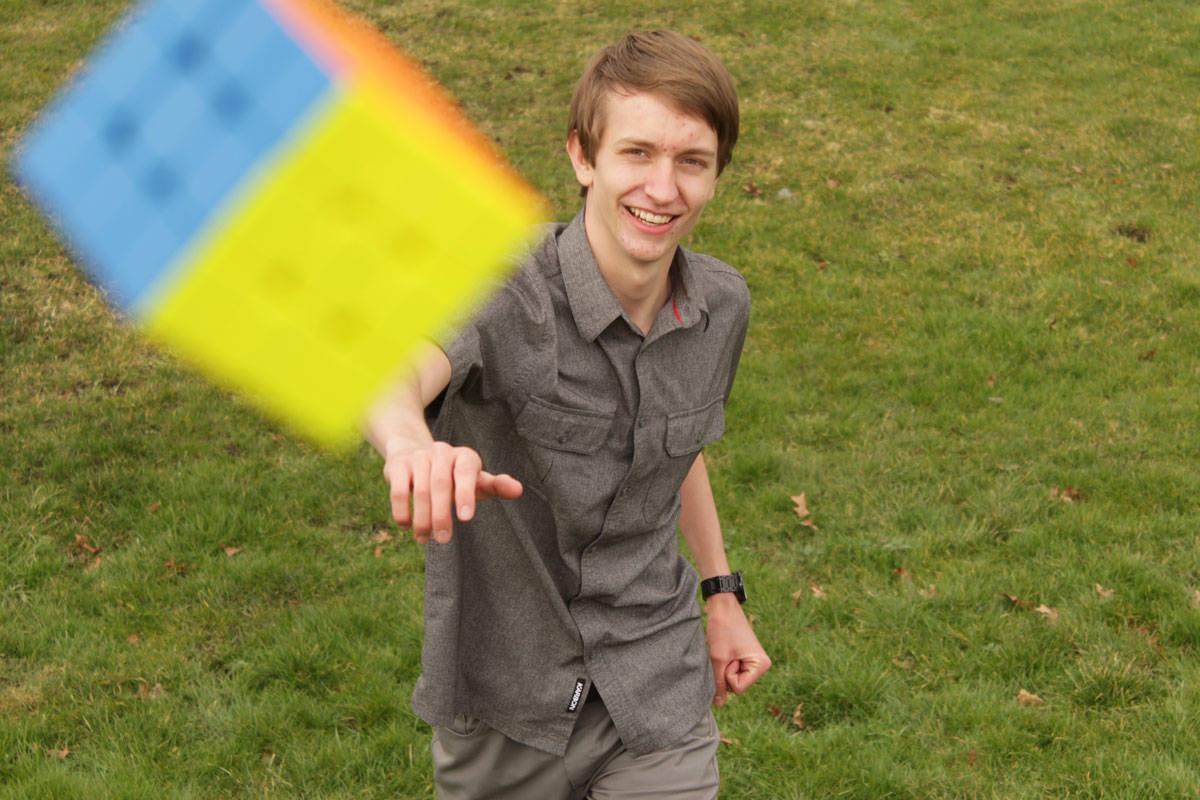Greater Victoria high school student Josiah Plett, 17, will attempt to break three Guinness World Records involving hula hooping and solving Rubik's cubes in mid-February. (Devon Bidal/News Staff)
