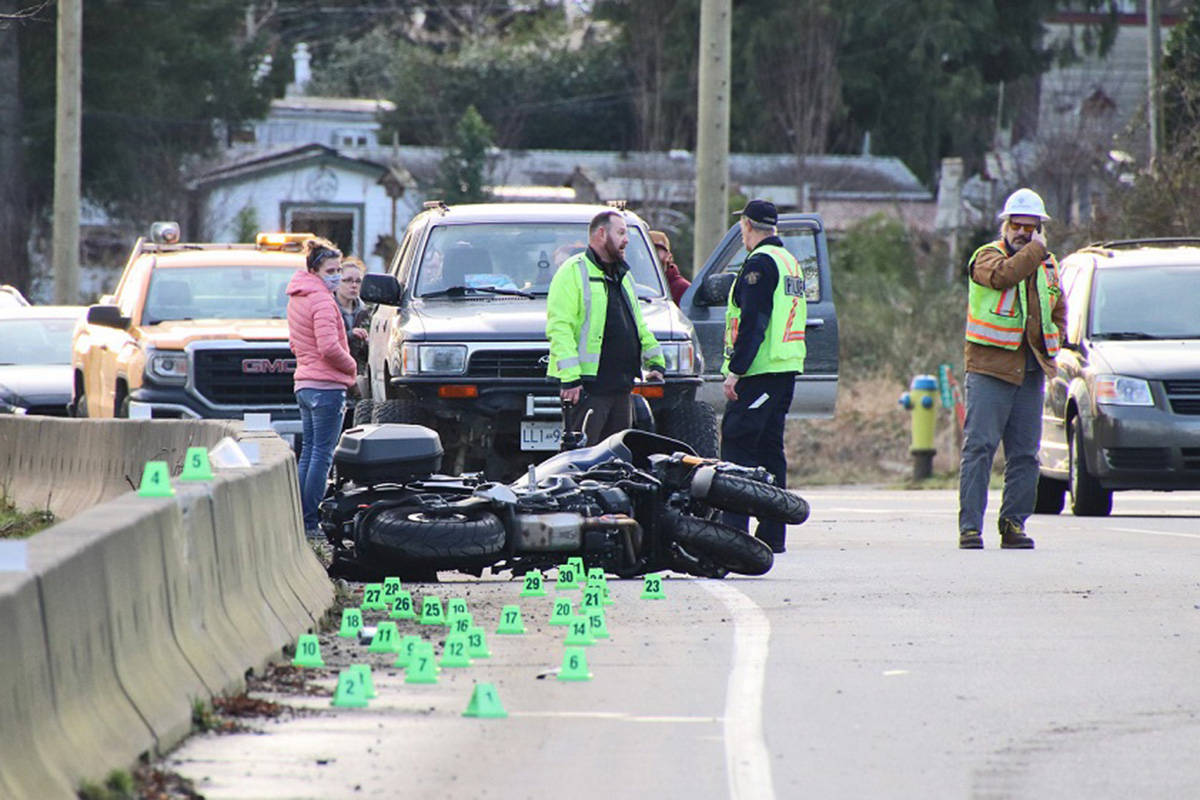 The crash scene during the traffic reconstruction by Mission RCMP officers and the RCMP Lower Mainland Integrated Collision Analysis and Reconstruction Service. Shane MacKichan photo.