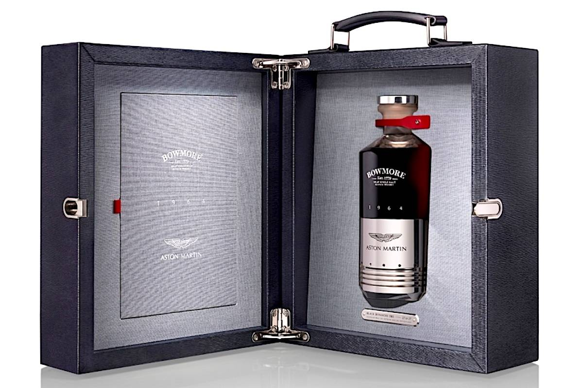 The Black Bowmore DB5 1964 whisky is a limited release, bottled in a special decanter made with a piston from an Aston Martin DB5 - the vehicle featured in the James Bond film Goldfinger. (BC Liquor Stores)