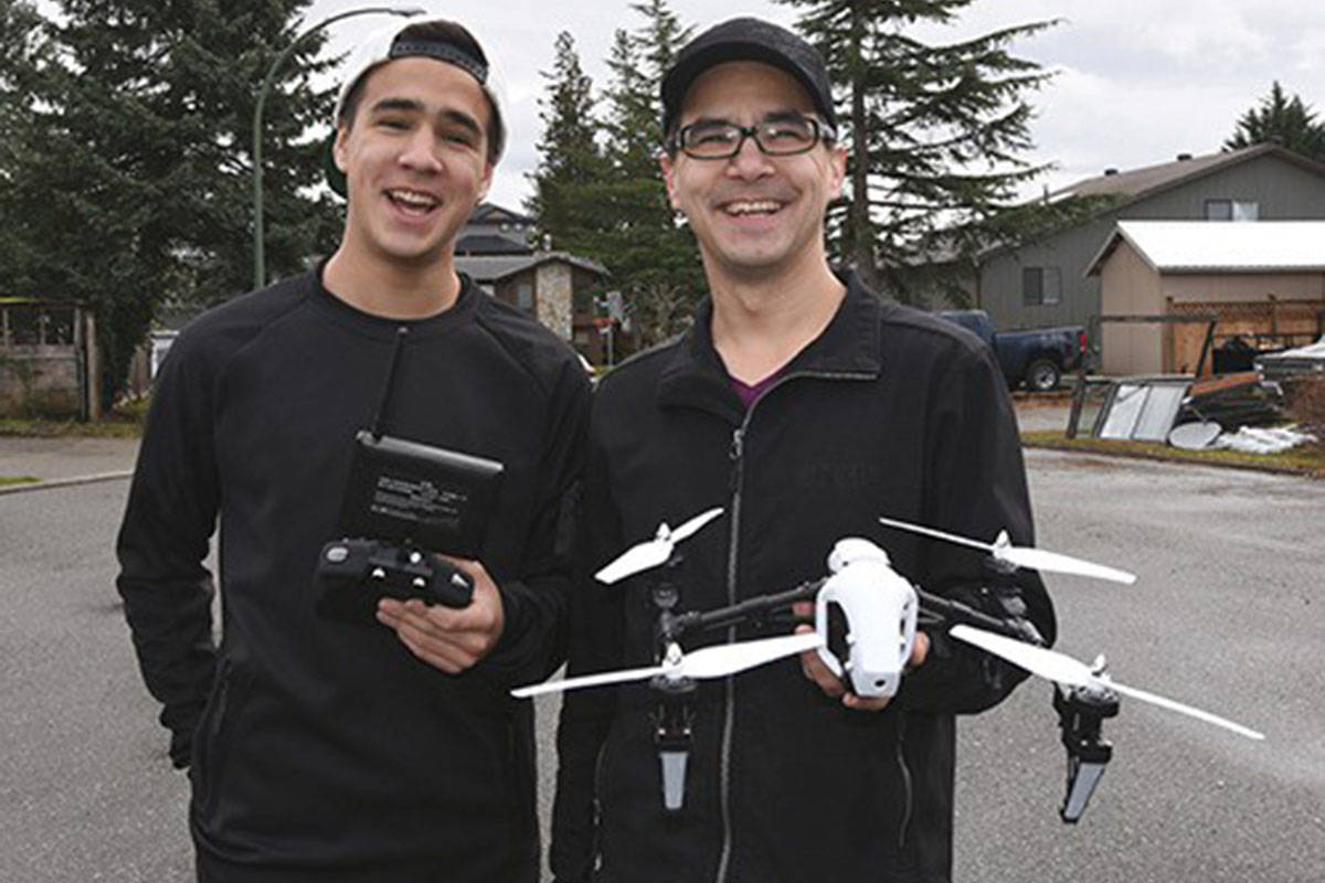 Abbotsford's Stefan Tam (right) originally was not happy with drone regulations that were put in place back in 2017. Today he is fully in support of them and has embraced them with his new business Send in the Drones. (File photo)