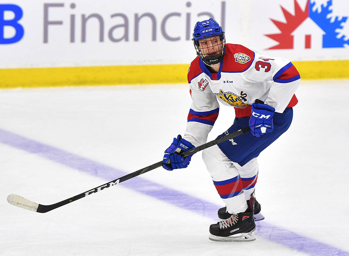 Surrey's Caleb Reimer in Edmonton Oil Kings colours. The junior hockey team is among five Alberta-based WHL squads planning to play games starting Feb. 26. (Photo: oilkings.ca)
