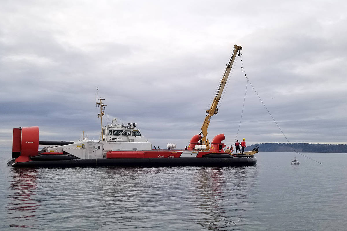 A joint effort between local fishery officers, the Canadian Coast Guard and others resulted in the seizure of more than 300 illegal crab traps in Boundary Bay near White Rock this month. (Fisheries and Oceans Canada photo)