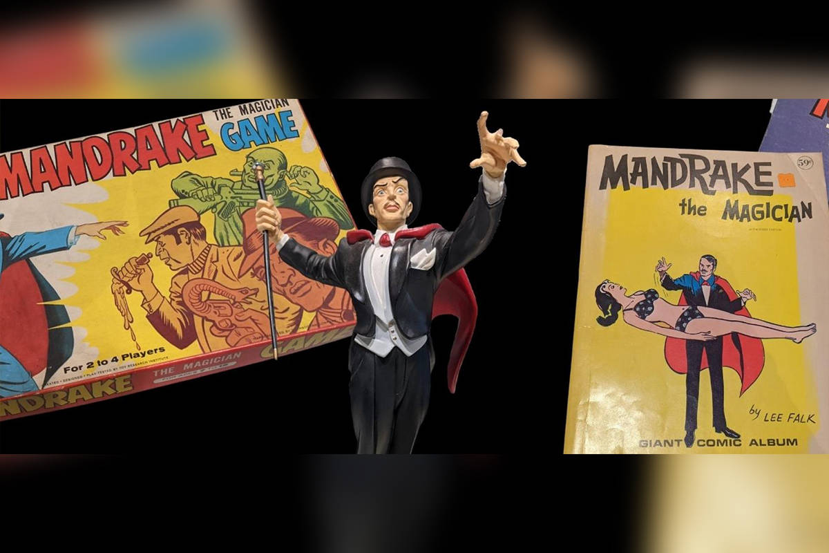 Promotional photo for the new Mandrake the Magician exhibit at the Museum of Surrey. The show runs until May 16. (Image via surrey.ca)