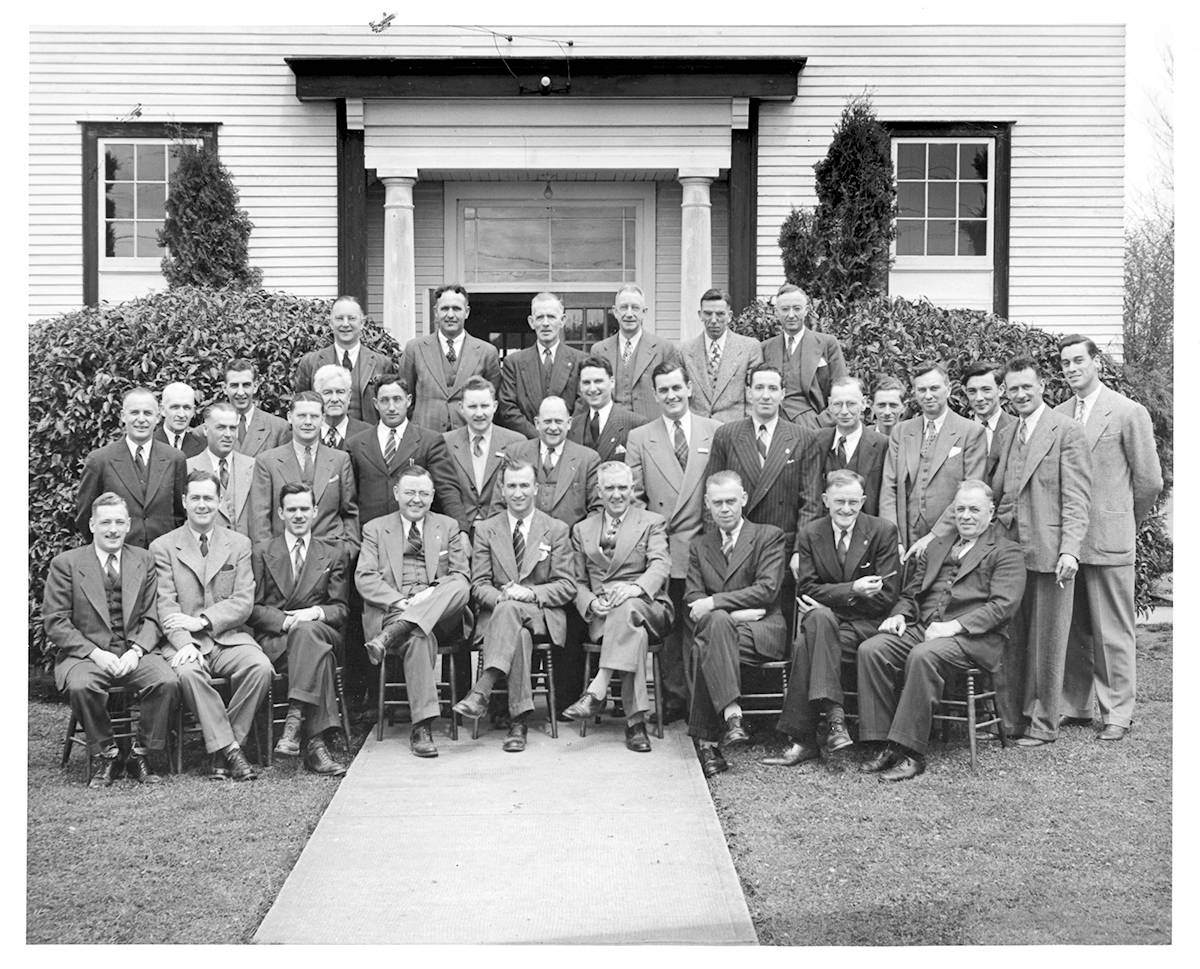 The Langley Board of Trade had a luncheon meeting in the 1950s, meeting at the Masonic Hall on Fraser Highway. (Langley Centennial Museum collection)