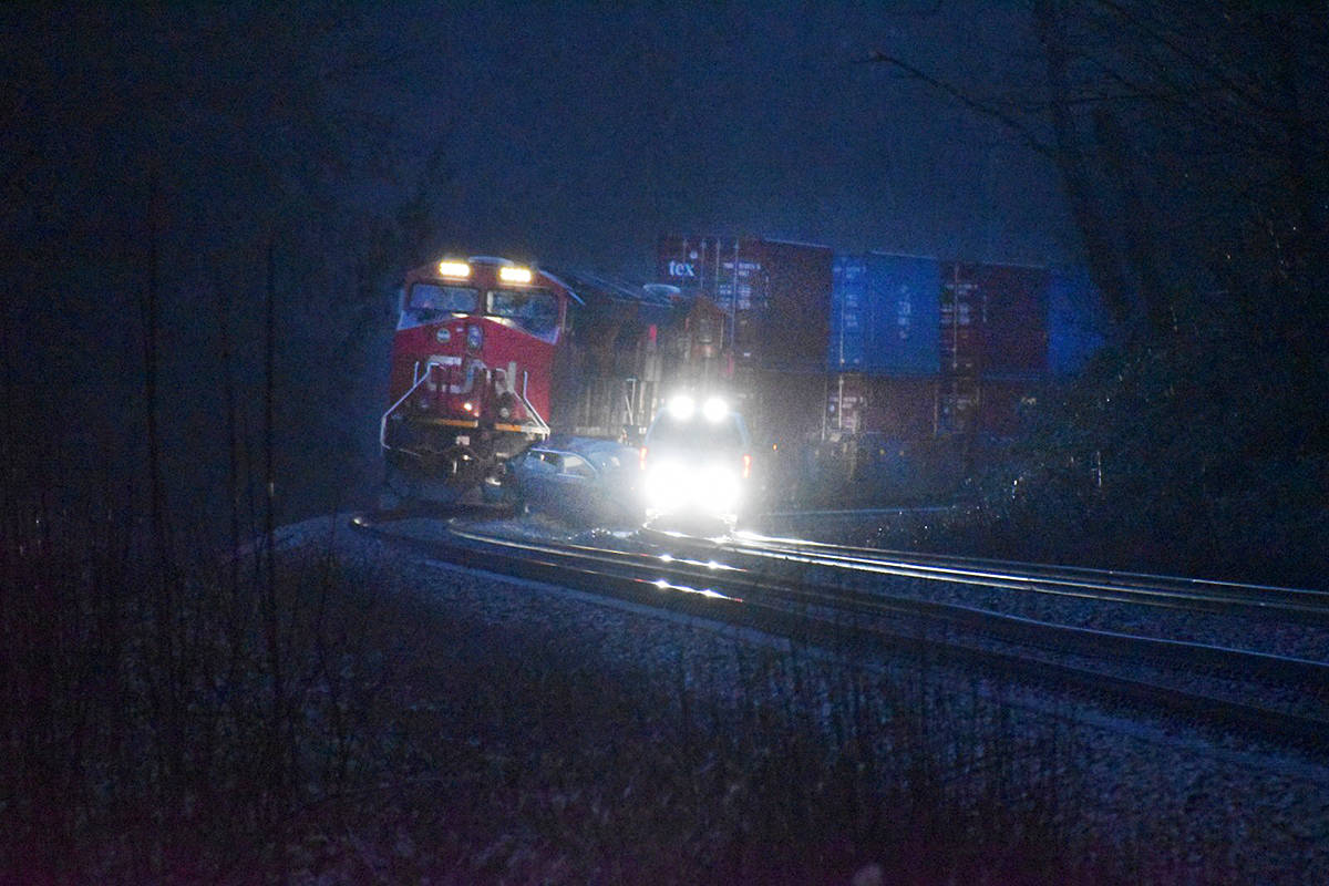 A collision involving a train and an SUV took place early Saturday morning near 216th Street and 96th Avenue (Curtis Kreklau/South Fraser News Services)