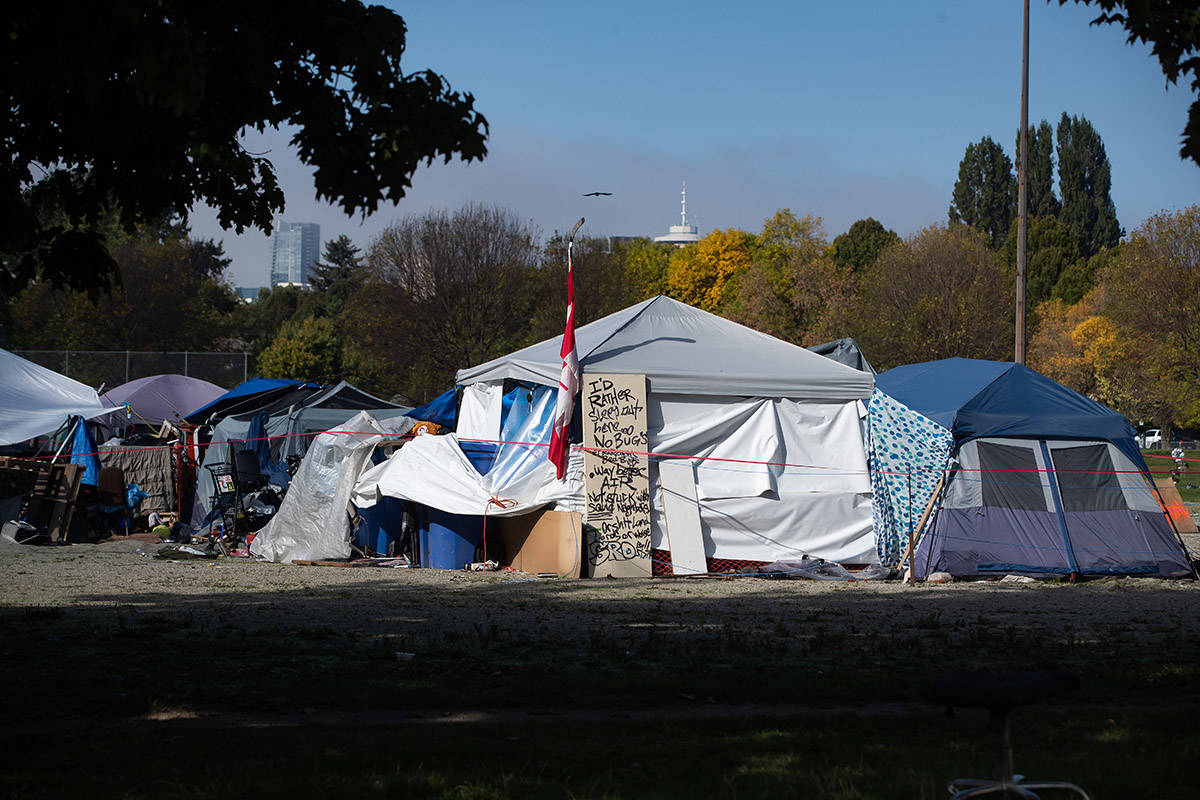 At Strathcona Park, in Vancouver, an entire village of homeless campers still occupying 400 tents after over three months. Concerns have mounted about the spread of COVID-19 among hundreds of people living in tight quarters. THE CANADIAN PRESS/Darryl Dyck