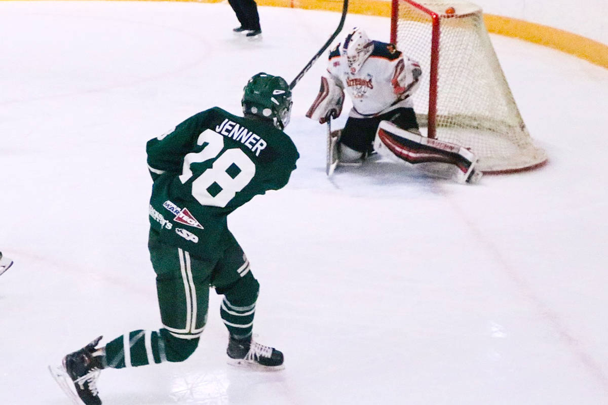 A Nelson Leafs player takes a shot on a Beaver Valley Nitehawks goaltender during the 2020 playoffs. The KIJHL announced Saturday it was cancelling the 2020-21 season. Photo: Jim Bailey/Trail Times