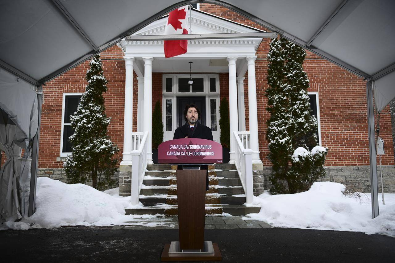 Prime Minister Justin Trudeau holds a news conference at Rideau Cottage in Ottawa on Friday, Feb. 5, 2021. THE CANADIAN PRESS/Sean Kilpatrick
