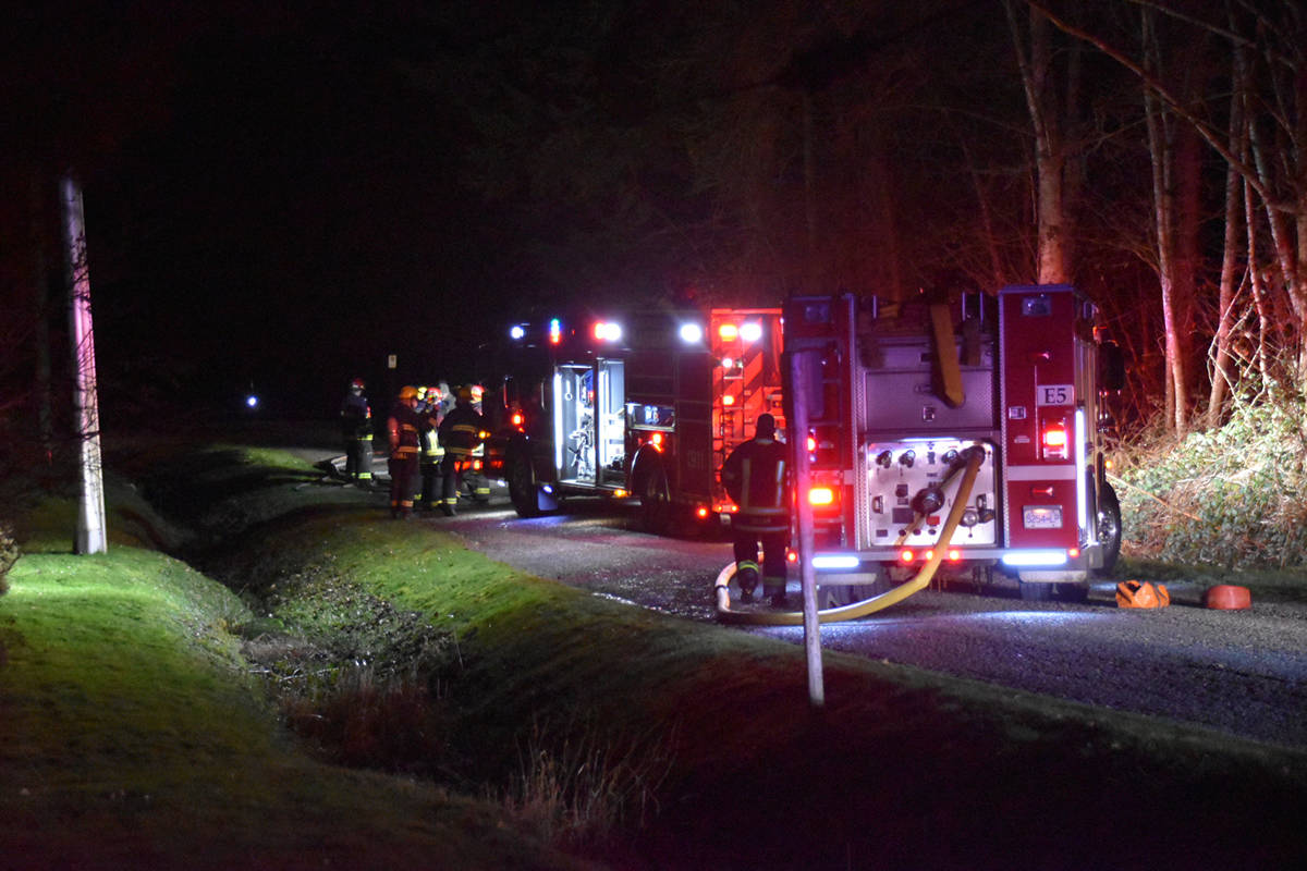 A burnt-out vehicle was located near Campbell Valley Regional Park on Saturday night, Feb. 6, 2021 (Curtis Kreklau/South Fraser News Services)