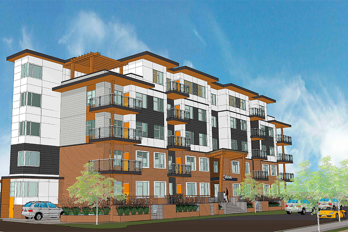 Image of proposed five-storey building at 20172 53A Ave. An online public hearing is set for Monday, Feb. 8. (Special to Langley Advance Times)