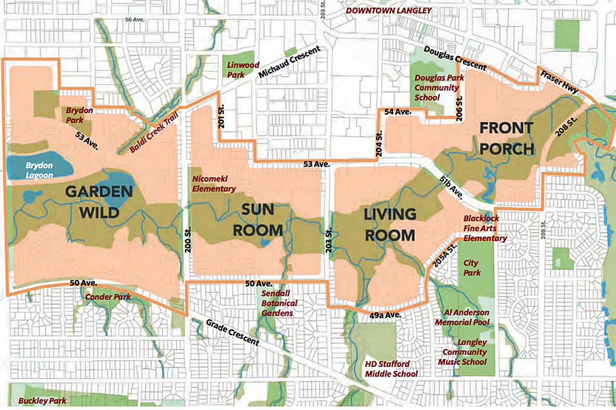 The Nicomekl River District Neighbourhood Plan area extends from 196 Street in the west to 208 Street in the east, envisioning four 'zones' along the route (Special to Langley Advance Times)