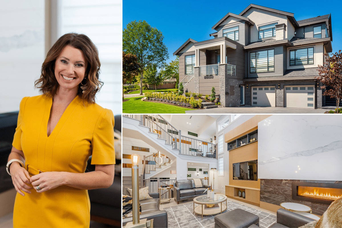 Clockwise from left: Lottery spokesperson Erin Cebula; This year's grandest Grand Prize home is a 5-bedroom, 6,200 sq. ft. Palace in Morgan Creek (South Surrey).