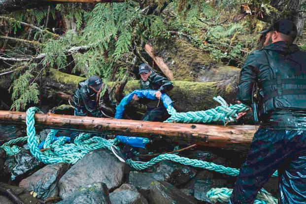Crews with the $3.5-million provincially funded Marine Debris Removal Initiative remove discarded and lost gear from B.C.'s central coast in the summer of 2020. (Photo supplied by the Small Ship Tour Operators Association of B.C.)