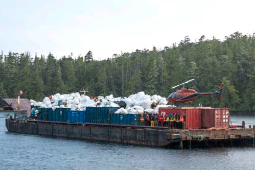 Crews with the $3.5-million provincially funded Marine Debris Removal Initiative celebrate a huge haul of garbage from B.C.'s central coast in the summer of 2020. (Photo supplied by the Small Ship Tour Operators Association of B.C.) Crews with the $3.5-million provincially funded Marine Debris Removal Initiative celebrate a huge haul of garbage from B.C.'s central coast in the summer of 2020. (Photo supplied by the Small Ship Tour Operators Association of B.C.)