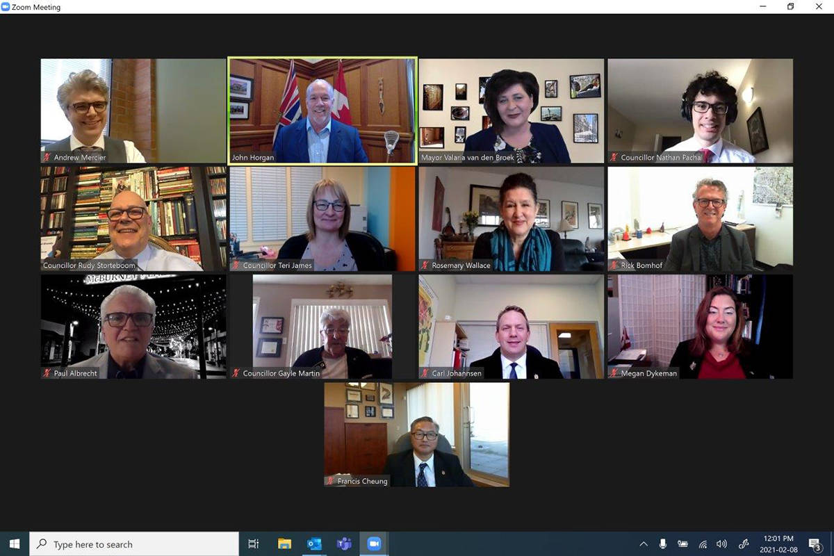 Premier John Horgan, and MLAs Andrew Mercier and Megan Dykeman held a virtual meeting with Langley City Council on Monday, Feb. 8. The provincial government is planning more such visits to BC communities. (Special to Langley Advance Times)