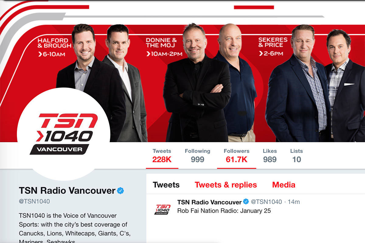 A screenshot of the now-defunct TSN 1040 radio station Twitter page. (Wayback Machine)