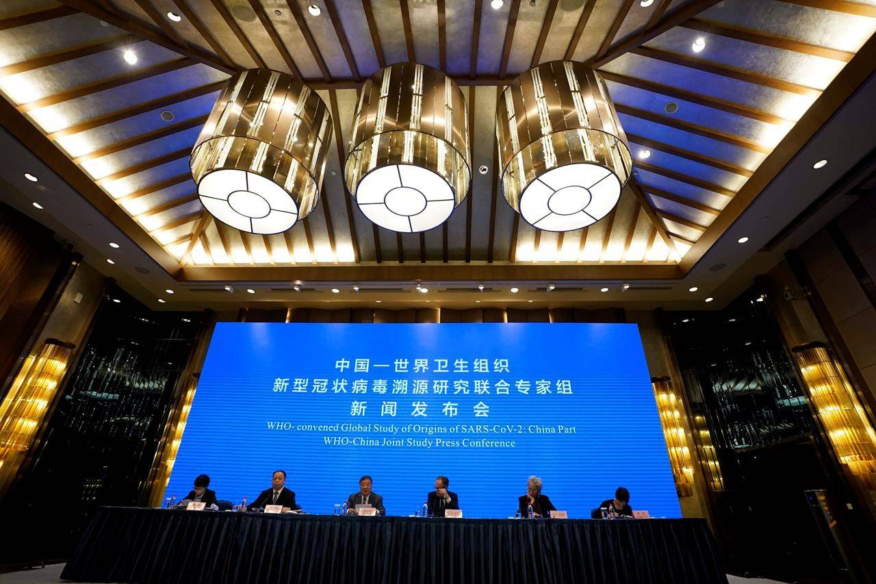 A WHO-China Joint Study Press Conference is held at the end of a WHO mission to investigate the origins of the coronavirus pandemic in Wuhan in central China's Hubei province, Tuesday, Feb. 9, 2021. (AP Photo/Ng Han Guan)