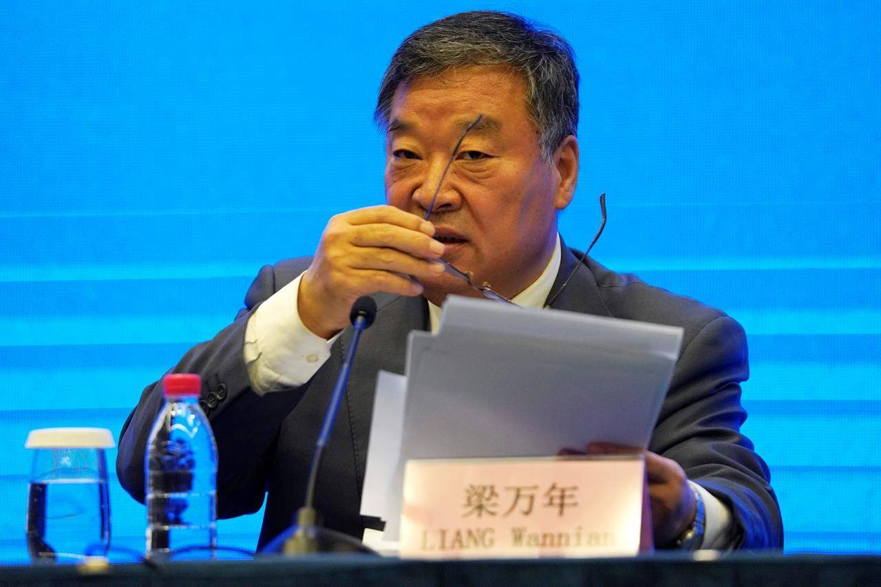 Liang Wannian speaks during a joint-press conference with the World Health Organization team at the end of the WHO mission in Wuhan in central China's Hubei province on Tuesday, Feb. 9, 2021. (AP Photo/Ng Han Guan)