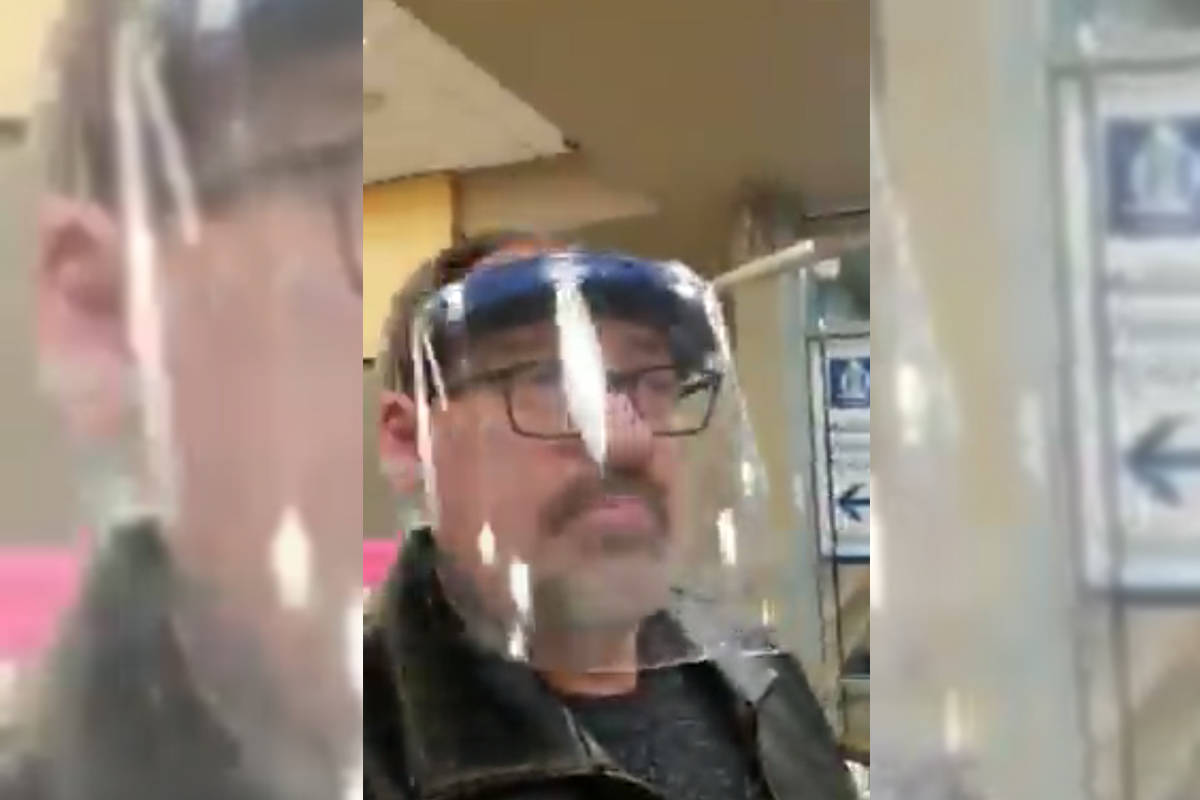 Ryan Bentson filmed his experience at the Vernon Jubilee Hospital Feb. 7, 2021. He was arrested and removed for not complying with the hospital's mask mandate. (Ryan Bentson - Facebook)