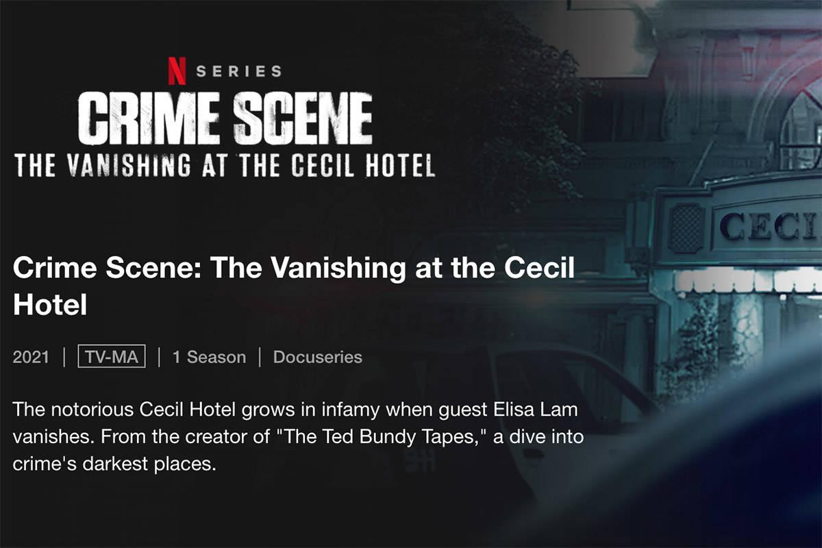 'Crime Scene: Vanishing at the Cecil Hotel' premiers Wednesday, Feb. 10, on Netflix. (Netflix)