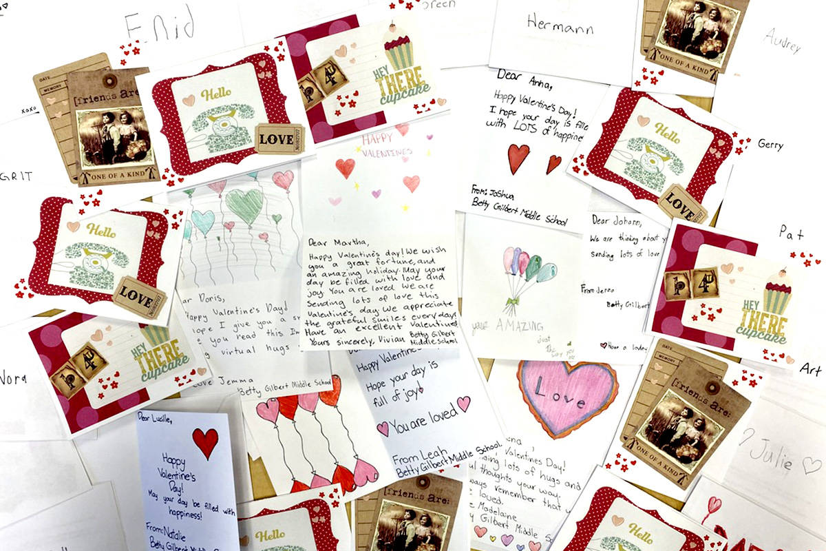 Betty Gilbert Middle School students made Valentine's Day cards for Jackman Manor residents. (Kristine Waddell/Special to The Star)