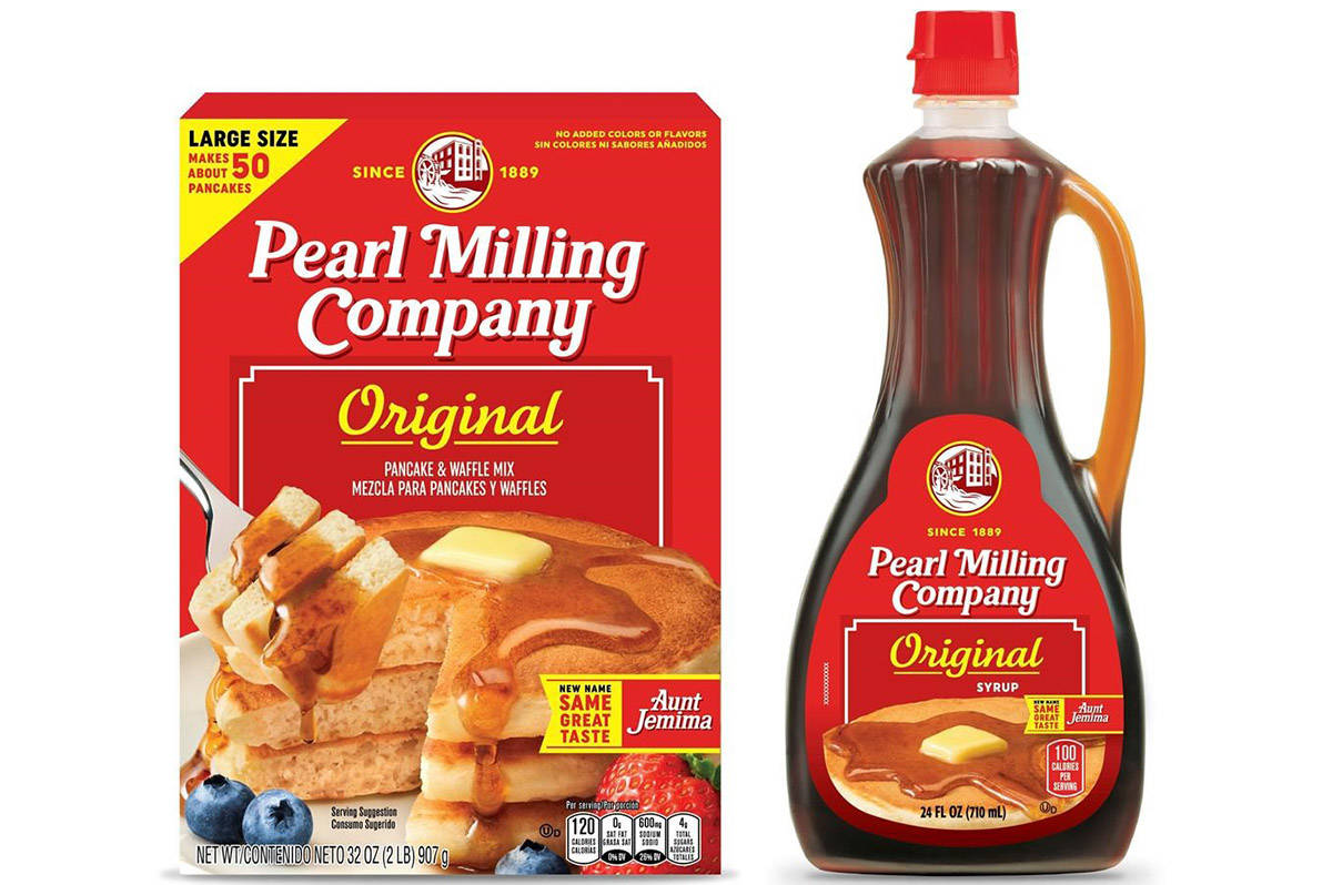 This image provided by PepsiCo, Inc., shows Quaker Oats' Pearl Milling Company brand pancake mix and syrup, formerly the Aunt Jemima brand. Aunt Jemima products will continue to be sold until June 2021, when the packaging will officially change over. (PepsiCo, Inc. via AP)