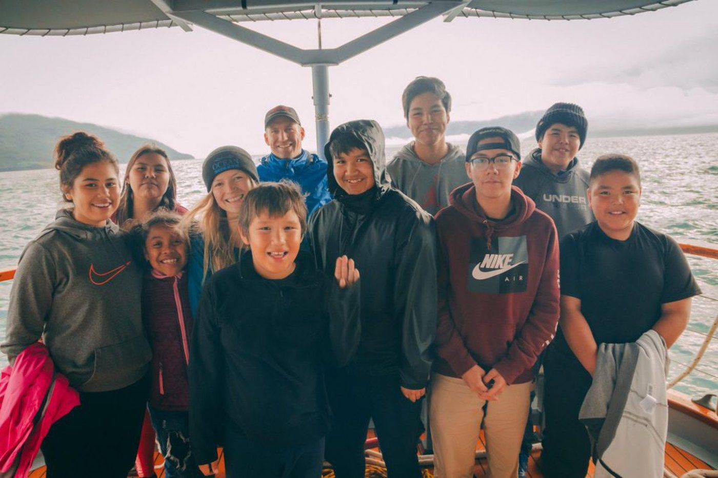 Andrea Reid, fourth from left, with salmon science camp participants from the Nisg̱a'a village of Gingolx in 2018. (Photo submitted by Andrew Stewart/LJI)
