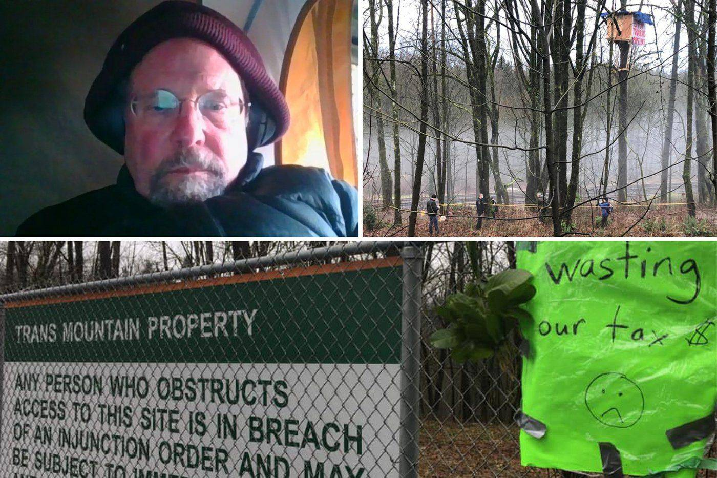 Clockwise from top left: SFU professor Tim Takaro, his treehouse protest site along the TMX route in Burnaby and a sign put up warning of an injunction order in effect. (Twitter / Facebook / Protect the Planet Stop TMX)