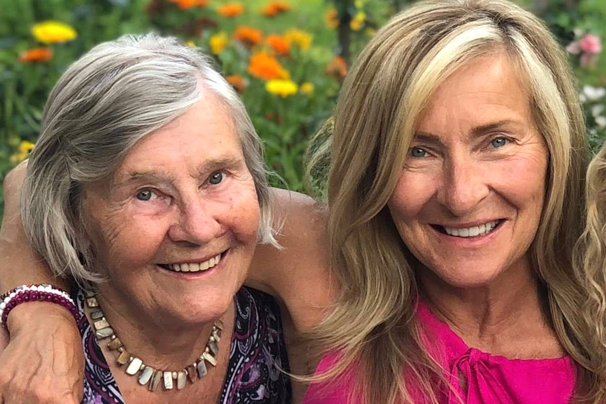 Stasia Huby (left) and her daughter Joanne Waddell. Huby lives in West Kelowna's Heritage Retirement Residence, where a COVID-19 outbreak ended on Feb. 2. Photo: Submitted