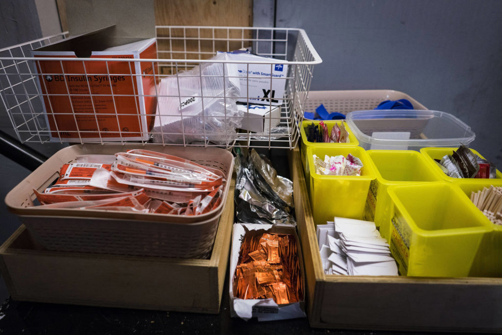 Supplies like clean needles are available at the Overdose Prevention Society's safe-injection site. (The Washington Post John Lehmann)