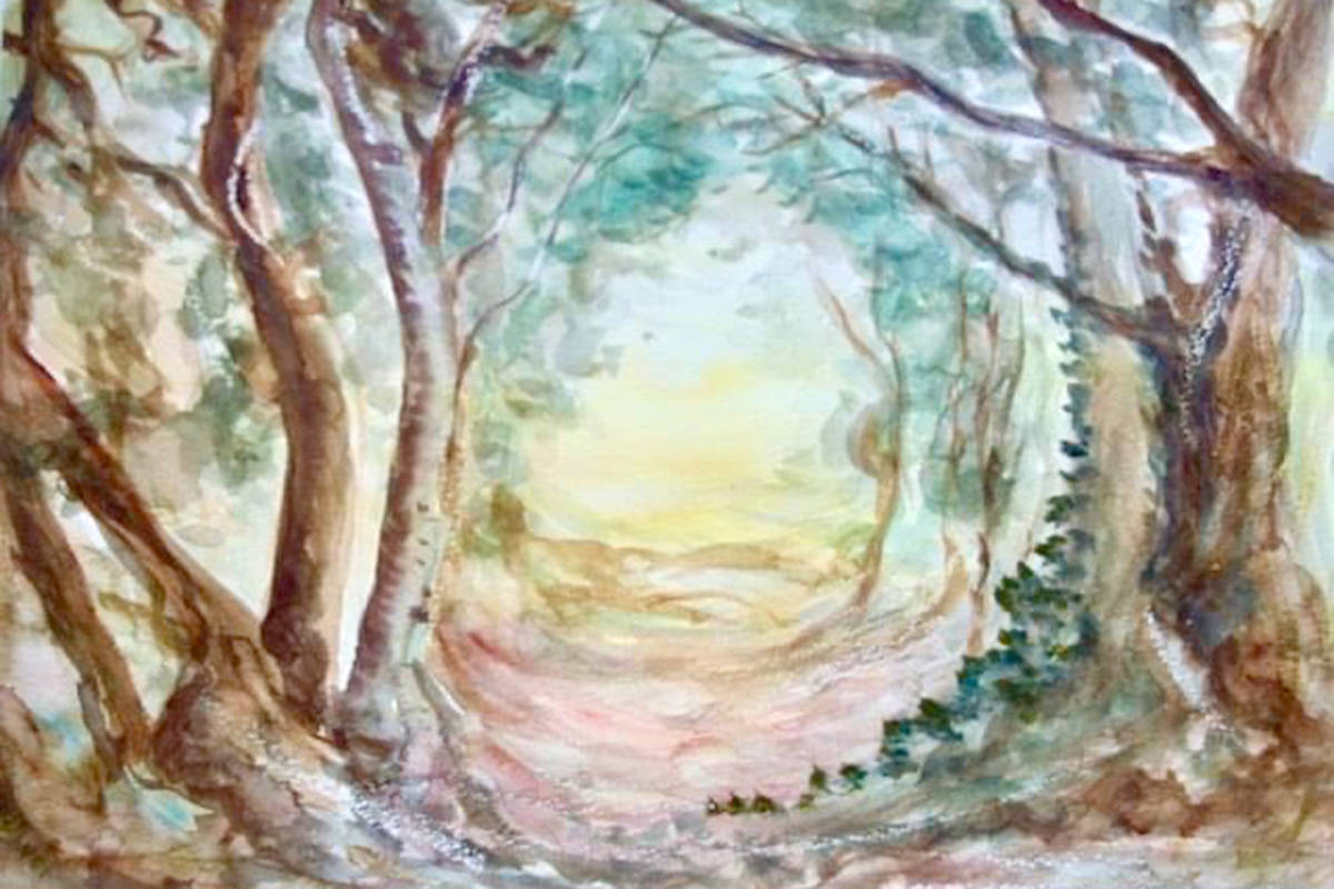 Ursula Bolivar's watercolour Woodland Path is part of Fort Langley Artist Group's Winter Solstice gallery online. (Ursula Bolivar/Special to The Star)