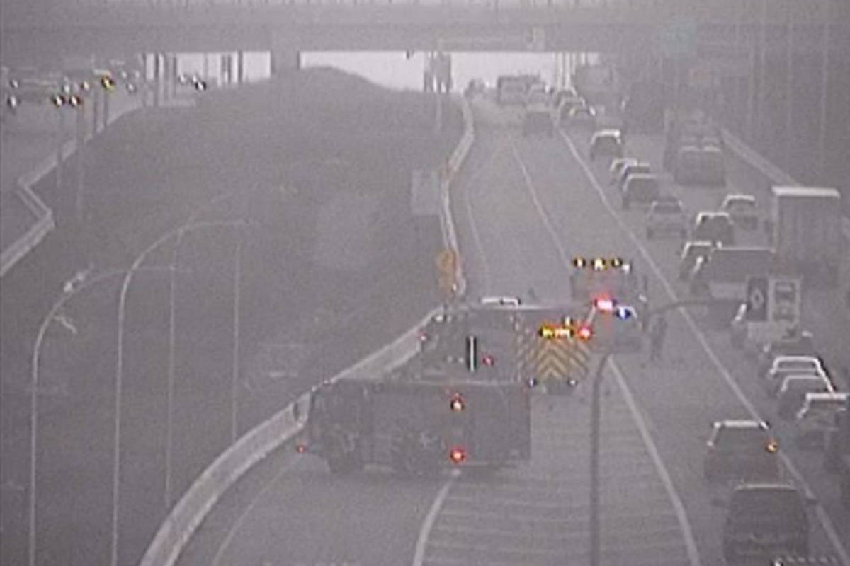 Crews are on scene at a vehicle incident on the 200th Street eastbound on-ramp on the Trans Canada Highway Friday morning. (Drive BC)