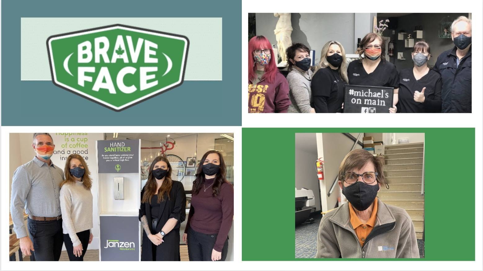 Dozens of local businesses from B.C., Alberta, and Yukon purchased masks to contribute to the campaign.Bottom left: Janzen Insurance Photo via Andrew Janzen, Bottom right: Hall Printing Photo via: Janice Underwood, Top right: Michael's on Main Photo via: Chris Franklin.