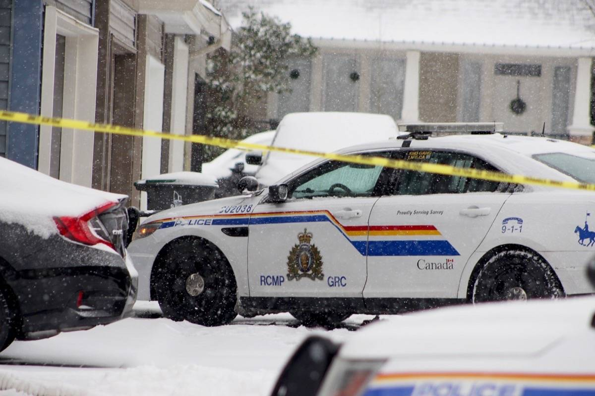 Police on scene of a suspicious death in the 19300-block of 66th Avenue on Saturday morning (Feb. 13). Surrey RCMP was called to the home around 7:15 p.m. on Friday and found a dead male. (Photo: Lauren Collins)