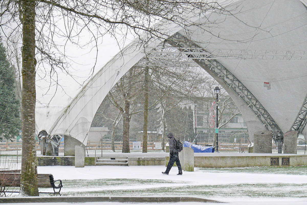 Snow blanketed Langley Saturday, Feb. 13 (Dan Ferguson/Langley Advance Times)