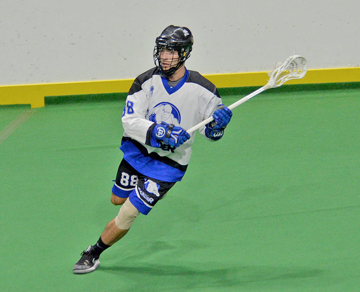 Langley's Caleb Pearson in BCJALL action at the Langley Events Centre (Gary Ahuja/Langley Events Centre photo)