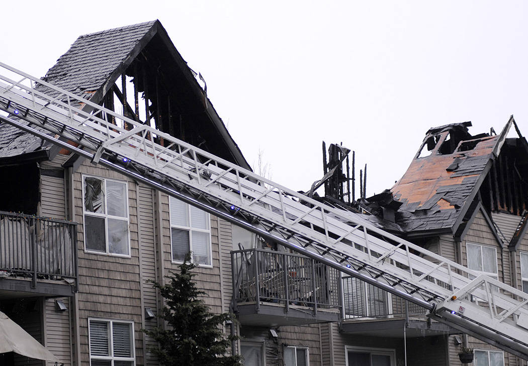 A fire tore through DeLair Court in Abbotsford in the early morning of Feb. 14, 2021. (John Morrow/ Black Press)