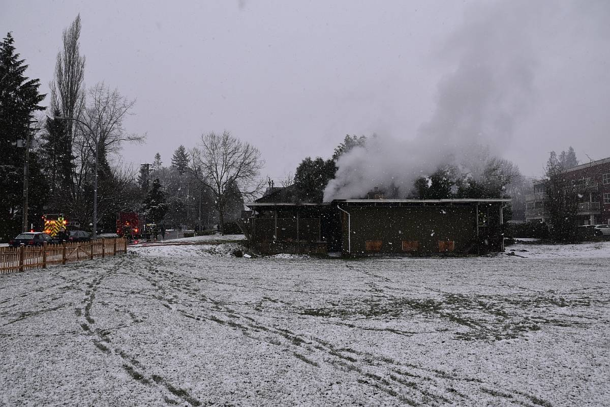 Multiple Langley Township fire department crews were called to the scene of a structure fire in Fort Langley on Sunday afternoon, Feb. 14 near Mary Avenue and Church Street. (Curtis Kreklau/South Fraser News Services)