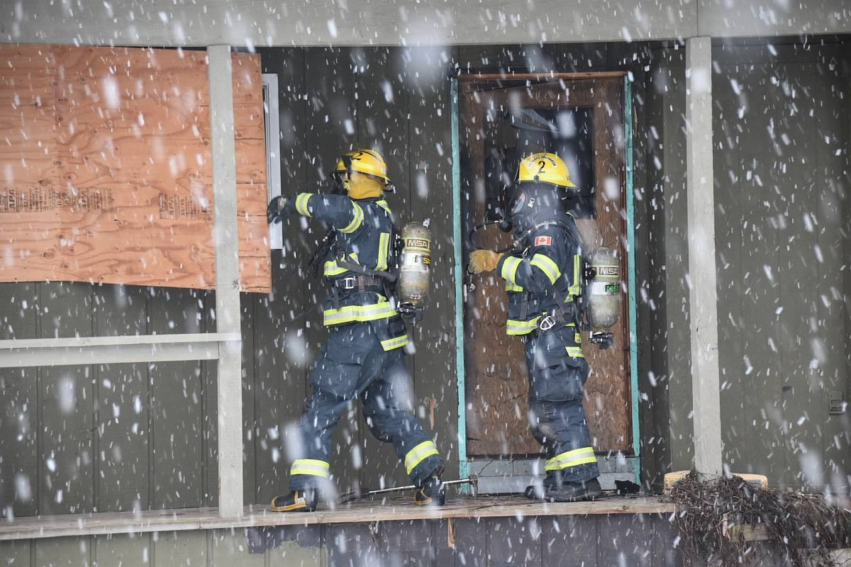 Multiple Langley Township fire department crews were called to the scene of a structure fire in Fort Langley on Sunday afternoon, Feb. 14, 2021 near Mary Avenue and Church Street. (Curtis Kreklau/South Fraser News Services)