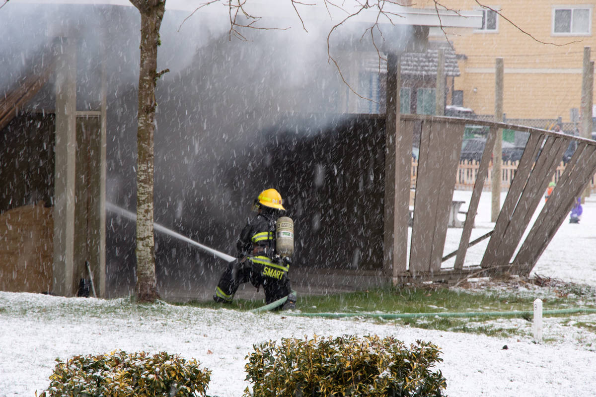 Multiple Langley Township fire department crews were called to the scene of a structure fire in Fort Langley on Sunday afternoon, Feb. 14, 2021 near Mary Avenue and Church Street. (Sophia Schulz/Special to Langley Advance Times)
