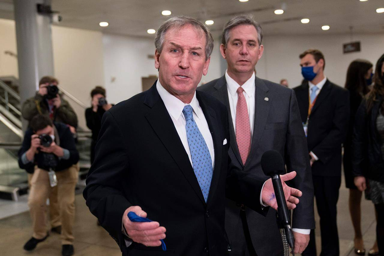 Michael van der Veen, left and Bruce Castor, attorneys from former President Donald Trump, speak with reporters on Capitol Hill after the Senate acquitted Trump in his second impeachment trial in the Senate at the U.S. Capitol in Washington, Saturday, Feb. 13, 2021. Trump was accused of inciting the Jan. 6 attack on the U.S. Capitol, and the acquittal gives him a historic second victory in the court of impeachment. (AP Photo/Alex Brandon)