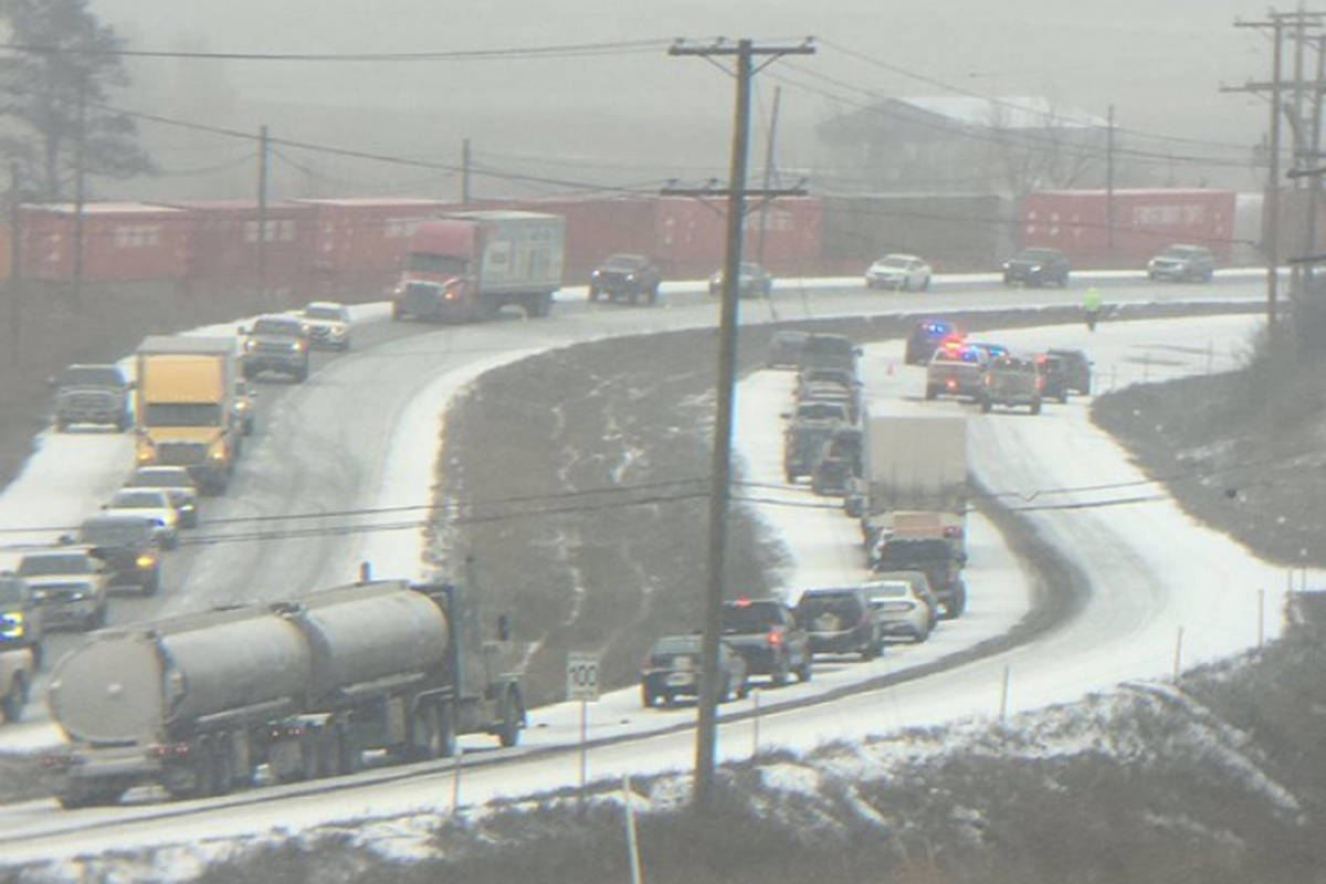 The eastbound lanes of Highway 1 near Grand Boulevard in Valleyview were closed for several hours after a fatal crash on Feb. 15, 2021, due to a fatal accident. (THE BMJW/Twitter)