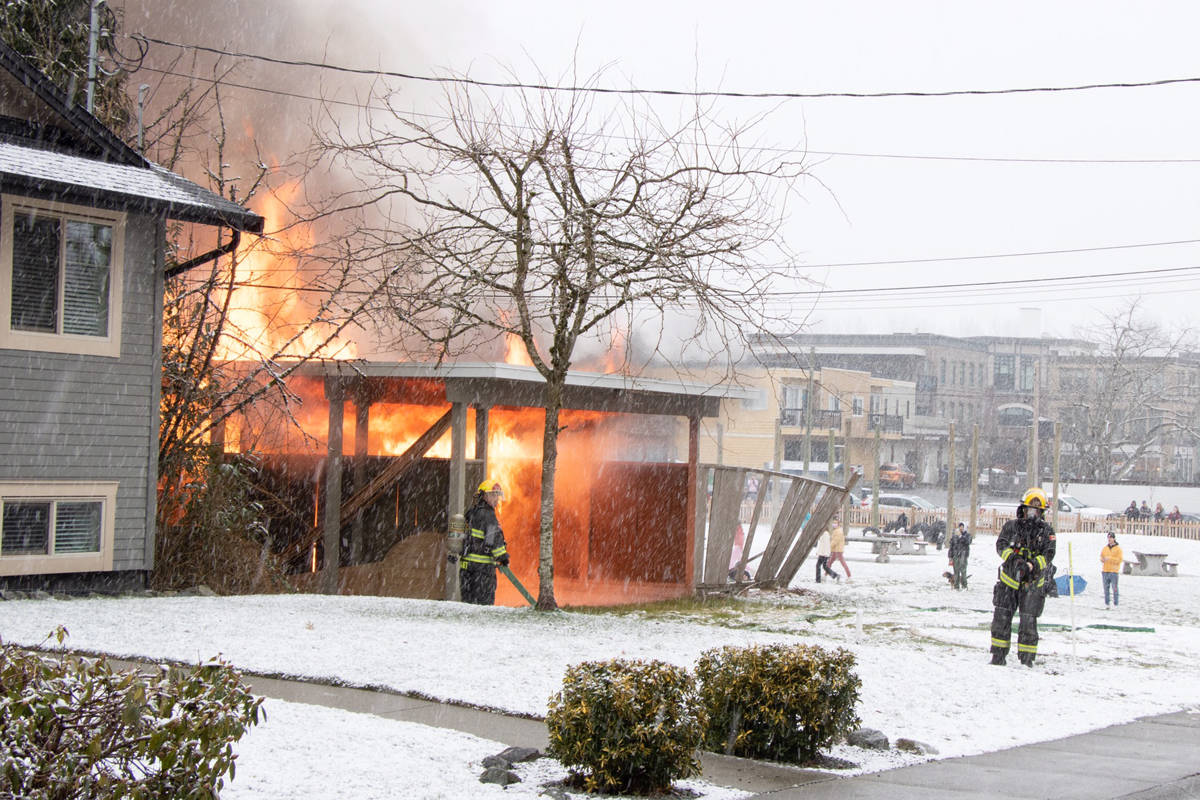 Multiple Langley Township fire department crews were called to the scene of a structure fire in Fort Langley on Sunday afternoon, Feb. 14 near Mary Avenue and Church Street. (Sophia Schulz/Special to Langley Advance Times)