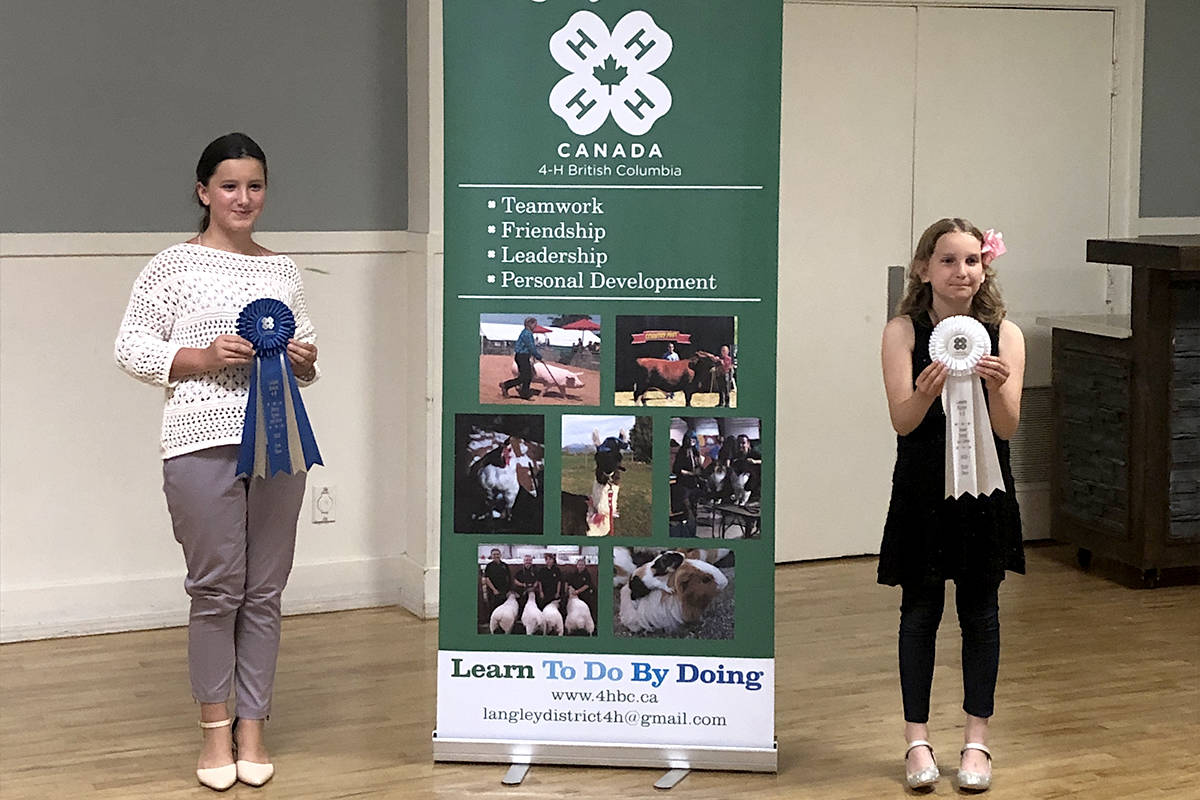 Anabelle and Emily, both junior 4-H members, represent Woodlands Hare and Hound Club at the district speak and show competition. (Special to The Star)