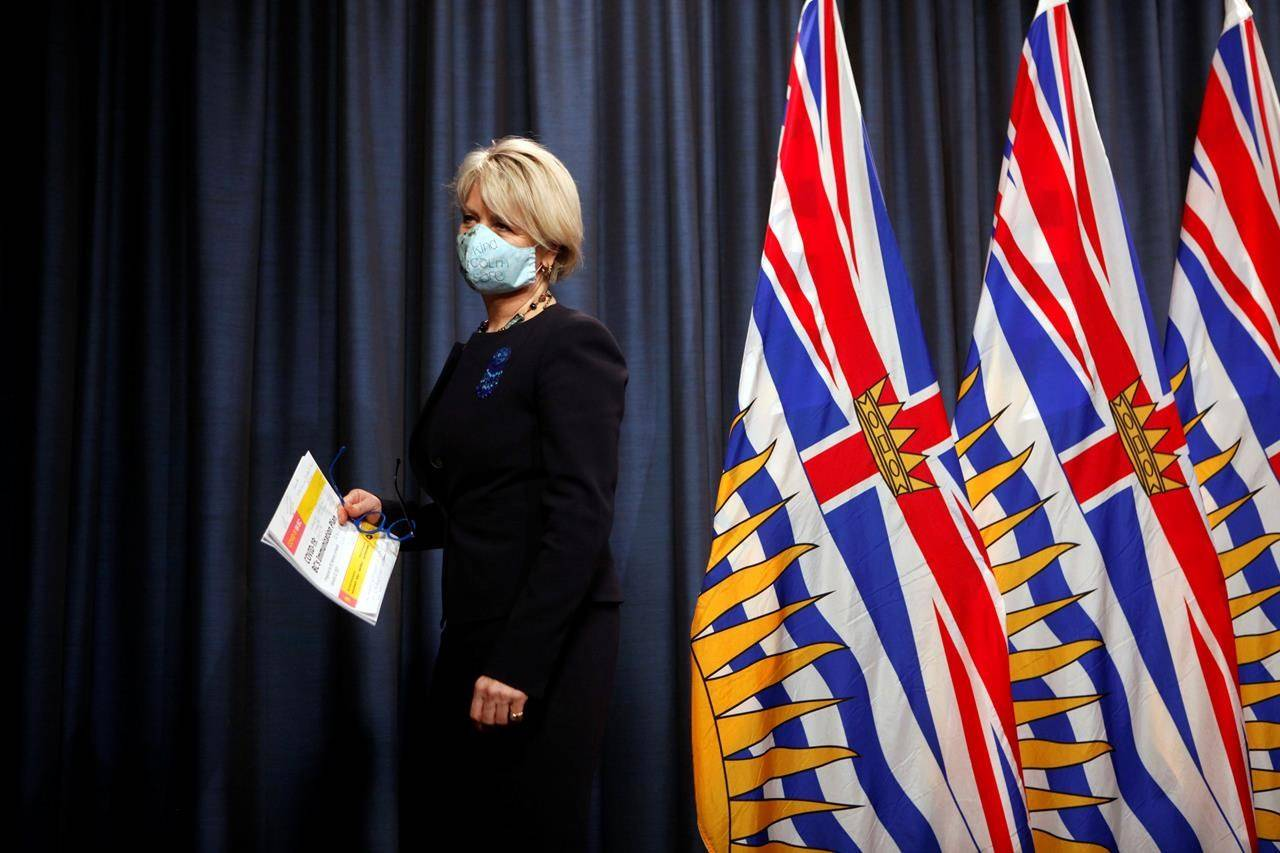 Dr. Bonnie Henry leaves the podium after a news conference at the legislature in Victoria on Friday, January 22, 2021. The chief justice of British Columbia's Supreme Court is set to deliver his decision today over whether to grant the province an injunction against three Fraser Valley churches flouting COVID-19 rules that prohibit in-person services. THE CANADIAN PRESS/Chad Hipolito
