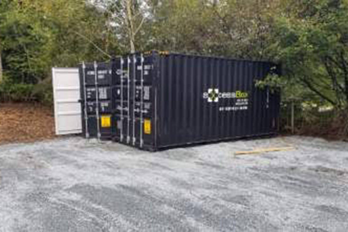 Six black axcess box shipping containers have been stolen from. an Aldergrove residence. (Robert Smith/Special to The Star)