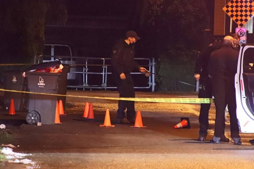 Surrey RCMP is investigating a shooting that happened near 145th Street and 82nd Avenue around 10:15 p.m. Tuesday night (Feb. 16, 2021). (Photo: Shane MacKichan)