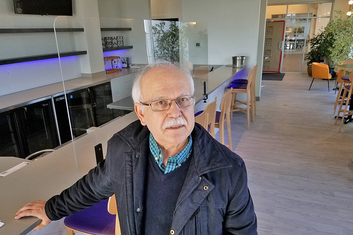 After a series of construction setbacks, a move by Adrian's at the Airport restaurant into new premises is finally about to happen, said owner Demetre Exarhopoulus, seen here inside the new restaurant on Wednesday, Feb. 17 (Dan Ferguson/Langley Advance Times)