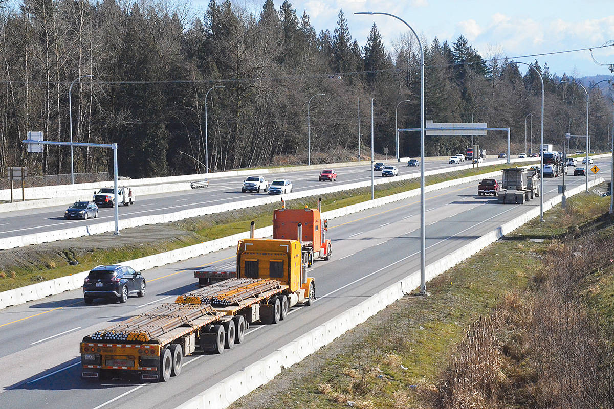 Public consultation on the widening of Highway One – seen here at the 216th Street interchange in Langley – is starting. (Matthew Claxton/Langley Advance Times)